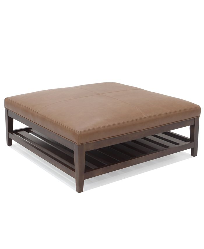 """Hotel Collection - Canillo 42"""" Leather Cocktail Ottoman with Wood Base"""