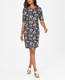 Karen Scott Petite Boat-Neck Elbow-Sleeve Dress, Created for Macy's