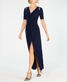 Adrianna Papell Shoulder-Cutout Jersey Gown