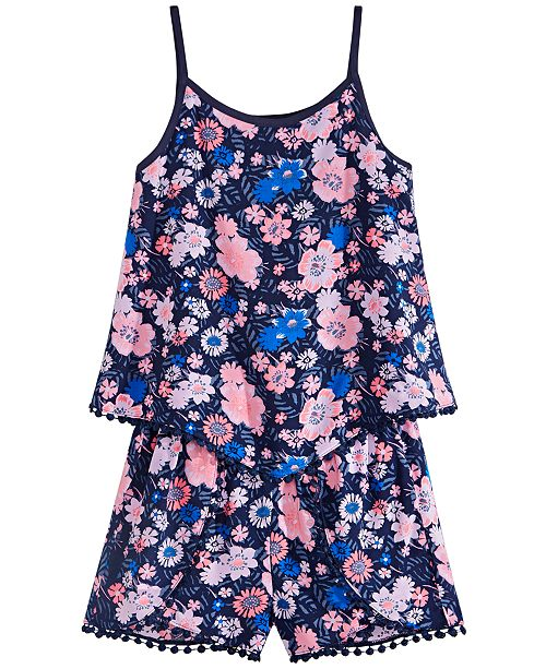 Epic Threads Big Girls Floral-Print Challis Diamond Tank Top & Shorts, Created for Macy's