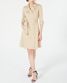 Elie Tahari Ari Belted Trenchcoat Dress
