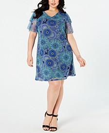 Plus Size Printed Ruffled-Sleeve Dress