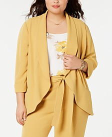 Bar III Plus Size Open-Front Jacket, Created for Macy's