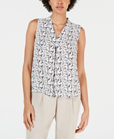 Bar III Printed Inverted-Pleat Top, Created for Macy's