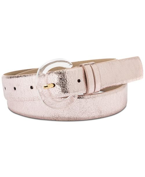 INC International Concepts I.N.C. Clear Buckle Metallic Faux Leather Belt, Created for Macy's