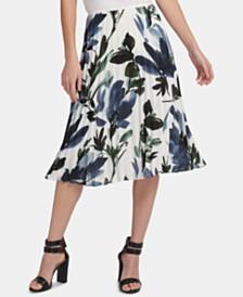 DKNY Pleated Floral-Print Midi Skirt