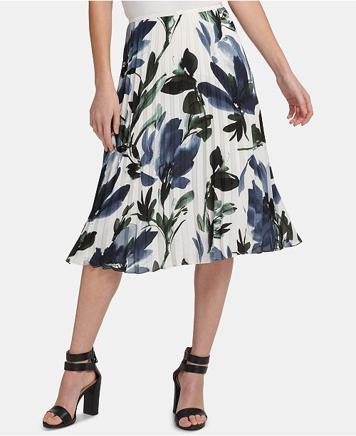affordable price clearance sale top style DKNY Pleated Floral-Print Midi Skirt & Reviews - Skirts ...