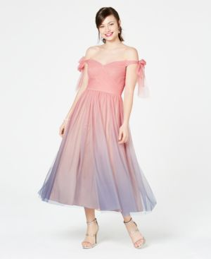 Image of Aidan by Aidan Mattox Ombre Off-The-Shoulder Dress