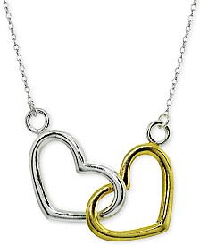"Giani Bernini Two-Tone Double Heart Pendant Necklace, 16"" + 2"" extender in Sterling Silver & 18k Gold-Plate, Created for Macy's"