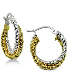 Giani Bernini Two-Tone Twisted Rope Hoop Earrings in Sterling Silver & 18k Gold-Plate, Created for Macy's