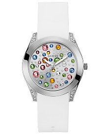 GUESS Women's Wonderlust White Silicone Strap Watch 39mm