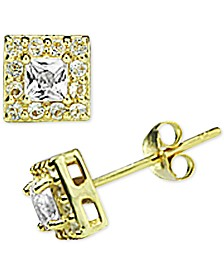 Giani Bernini Cubic Zirconia Halo Square Stud Earrings in 18k Gold-Plated Sterling Silver, Created for Macy's