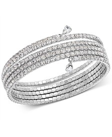 I.N.C. Silver-Tone Crystal Coil Bracelet, Created for Macy's