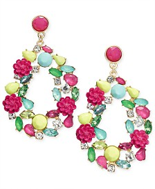 I.N.C. Gold-Tone Multicolor Stone & Flower Drop Earrings, Created for Macy's