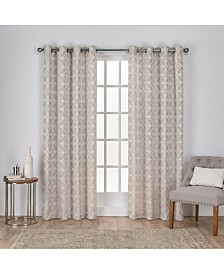 Exclusive Home Cressy Geometric Textured Linen Jacquard Grommet Top Curtain Panel Pair