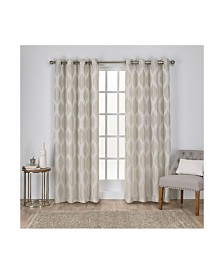 Exclusive Home Montrose Ogee Geometric Textured Linen Grommet Top Curtain Panel Pair