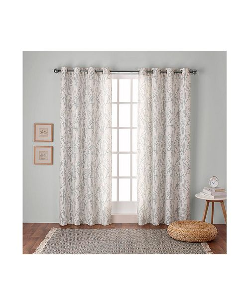 Exclusive Home Branches Linen Blend Grommet Top Curtain Panel Pair