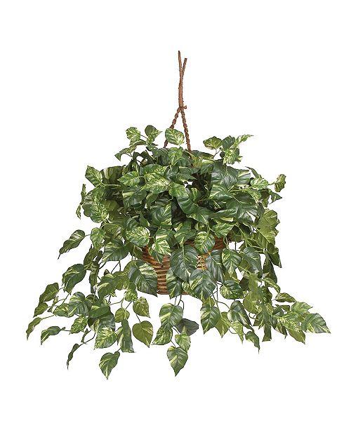 Nearly Natural Pothos Hanging Basket Silk Plant