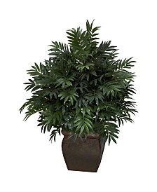 Nearly Natural Triple Bamboo Palm w/ Decorative Planter Silk Plant