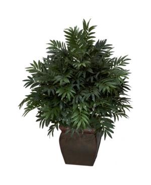 Nearly Natural Triple Bamboo Palm w/ Decorative Planter Silk Plant