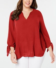 MICHAEL Michael Kors Plus Size Tie-Sleeve Top