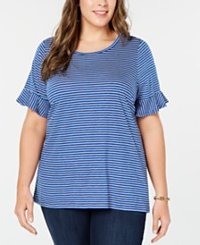 MICHAEL Michael Kors Plus Size Striped Ruffle-Sleeve T-Shirt