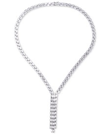 "Tiara Cubic Zirconia Baguette Tassle 18"" Lariat Necklace in Sterling Silver"