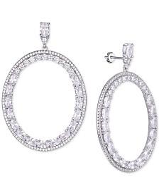 Tiara Cubic Zirconia Circle Drop Earrings in Sterling Silver