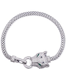 Tiara Cubic Zirconia Panther Bracelet in Sterling Silver