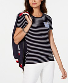 Tommy Hilfiger Cotton Striped Pocket T-Shirt
