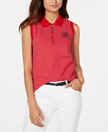 Tommy Hilfiger Polka-Dot Polo Top