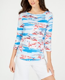 Charter Club Petite Sail Scene Boat-Neck Top, Created for Macy's