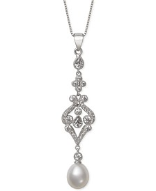 Cultured Freshwater Pearl (8-9mm) & Cubic Zirconia Pendant Necklace in Sterling Silver