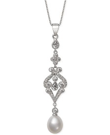 Belle de Mer Cultured Freshwater Pearl (8-9mm) & Cubic Zirconia Pendant Necklace in Sterling Silver