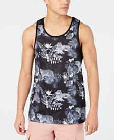 GUESS Men's Jordan Wild Jungle Graphic Mesh Tank