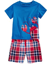 First Impressions Baby Boys T-Shirt & Plaid-Print Shorts Separates, Created for Macy's