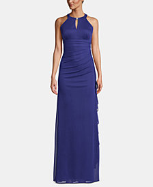 B&A by Betsy and Adam Ruched Halter Gown