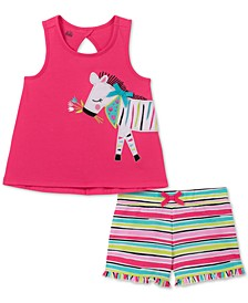 Little Girls 2-Pc. Zebra Tank Top & Striped Shorts Set