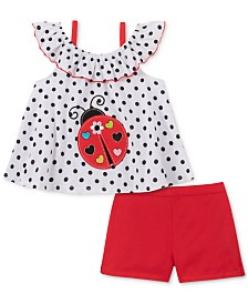 Kids Headquarters Little Girls 2-Pc. Ladybug Top & Shorts Set