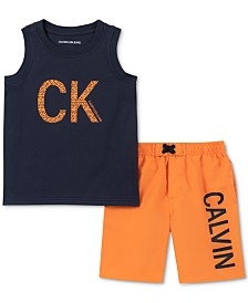 Calvin Klein Toddler Boys 2-Pc. Logo Tank & Board Shorts
