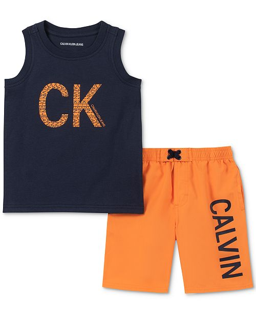 Calvin Klein Little Boys 2-Pc. Logo Tank & Board Shorts