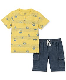 Toddler Boys 2-Pc. Maritime-Print Henley & Chambray Shorts Set