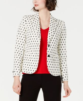 Dot-Textured Double-Button Blazer