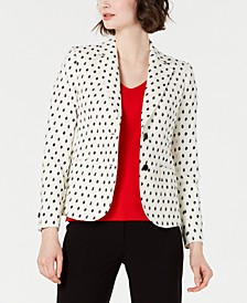 Dot-Textured Double-Button Blazer