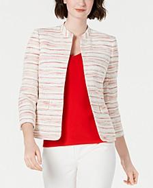 Striped Mandarin-Collar Blazer