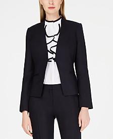 Calvin Klein Linen Collarless Open Blazer