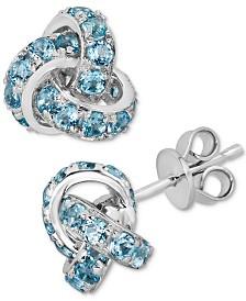 Blue Topaz (4 ct. t.w.) Knot Stud Earrings in Sterling Silver