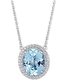"Blue Topaz (5-1/2 ct. t.w.) & White Topaz (1 ct. t.w.) 17"" Pendant Necklace in Sterling Silver (also available in Amethyst)"