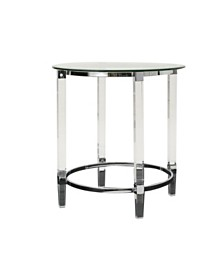 Orianna Acrylic and Tempered Glass Circular Table, Quick Ship