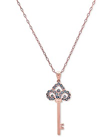 "London Blue Topaz Key 18"" Pendant Necklace (1/2 ct. t.w.) in 18k Rose Gold-Plated Sterling Silver"